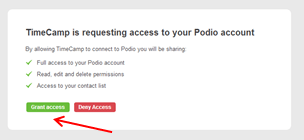 Time tracking with Podio