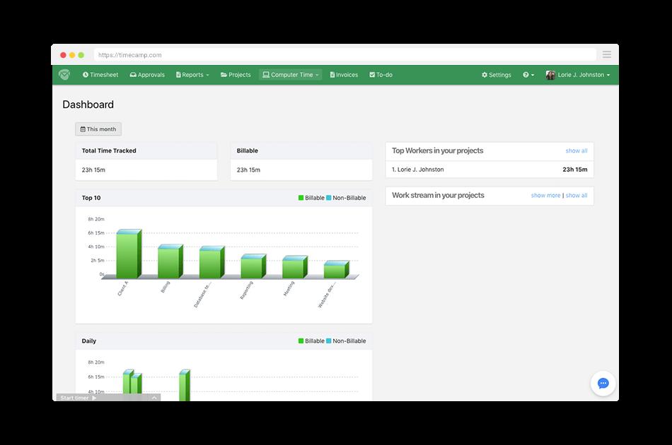 timecamp dashboard screenshot