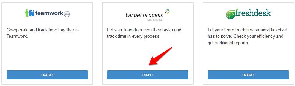timecamp targetprocess integration screenshot