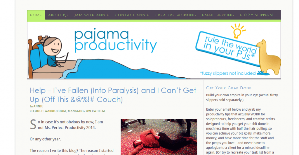 Pajama Productivity blog