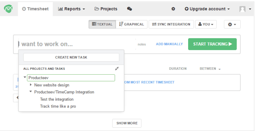 integrate producteev for time tracking timecamp