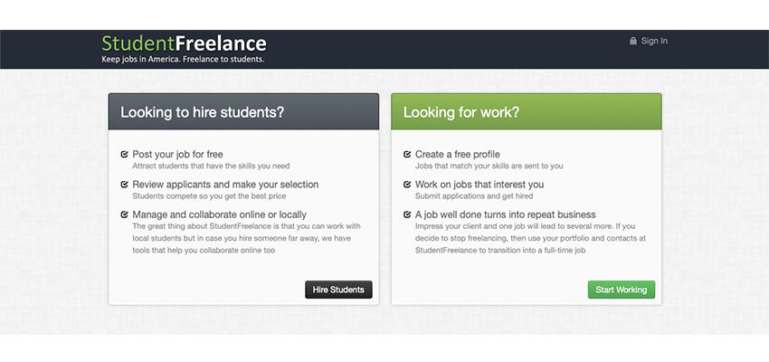 freelance websites list students