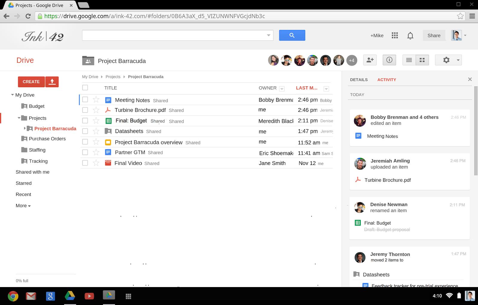 google drive screen