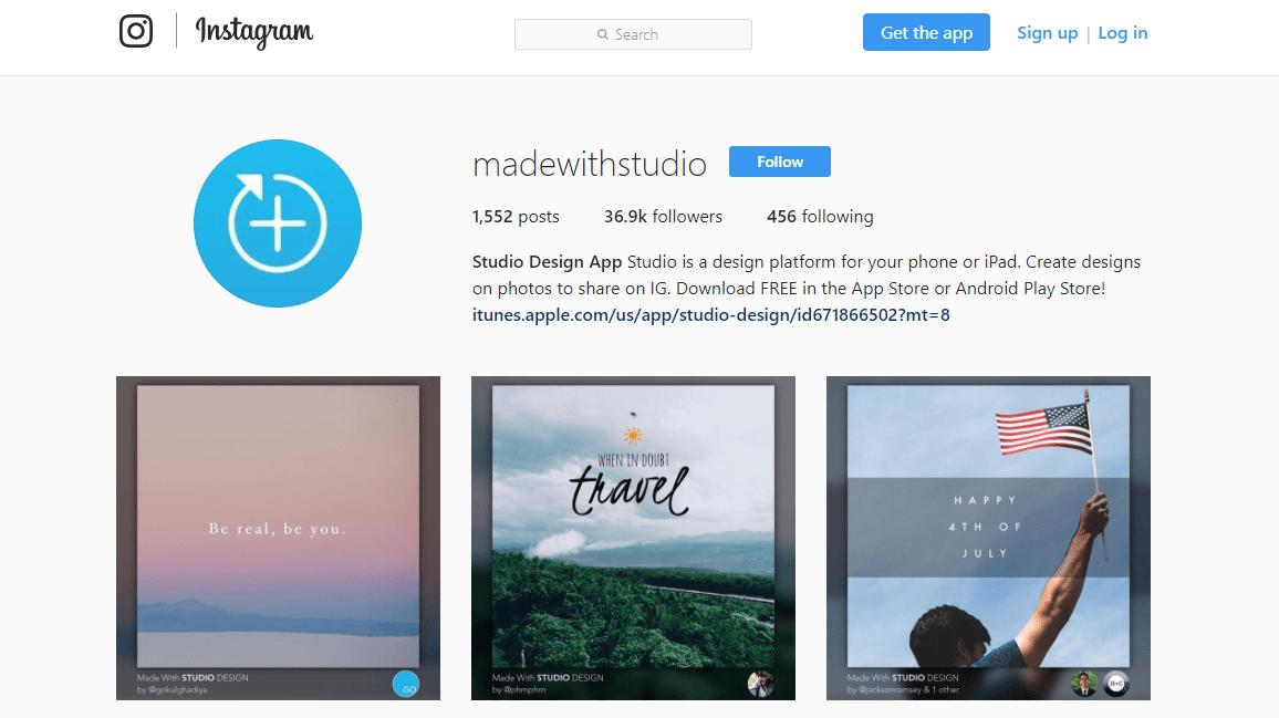 studio for instagram screen