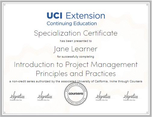 coursera PM certificate