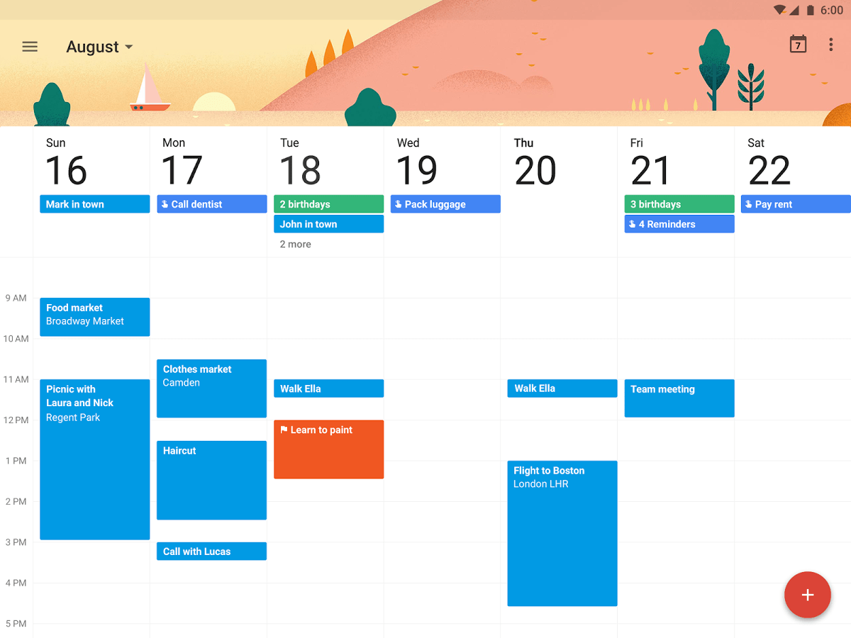 google calendar screen
