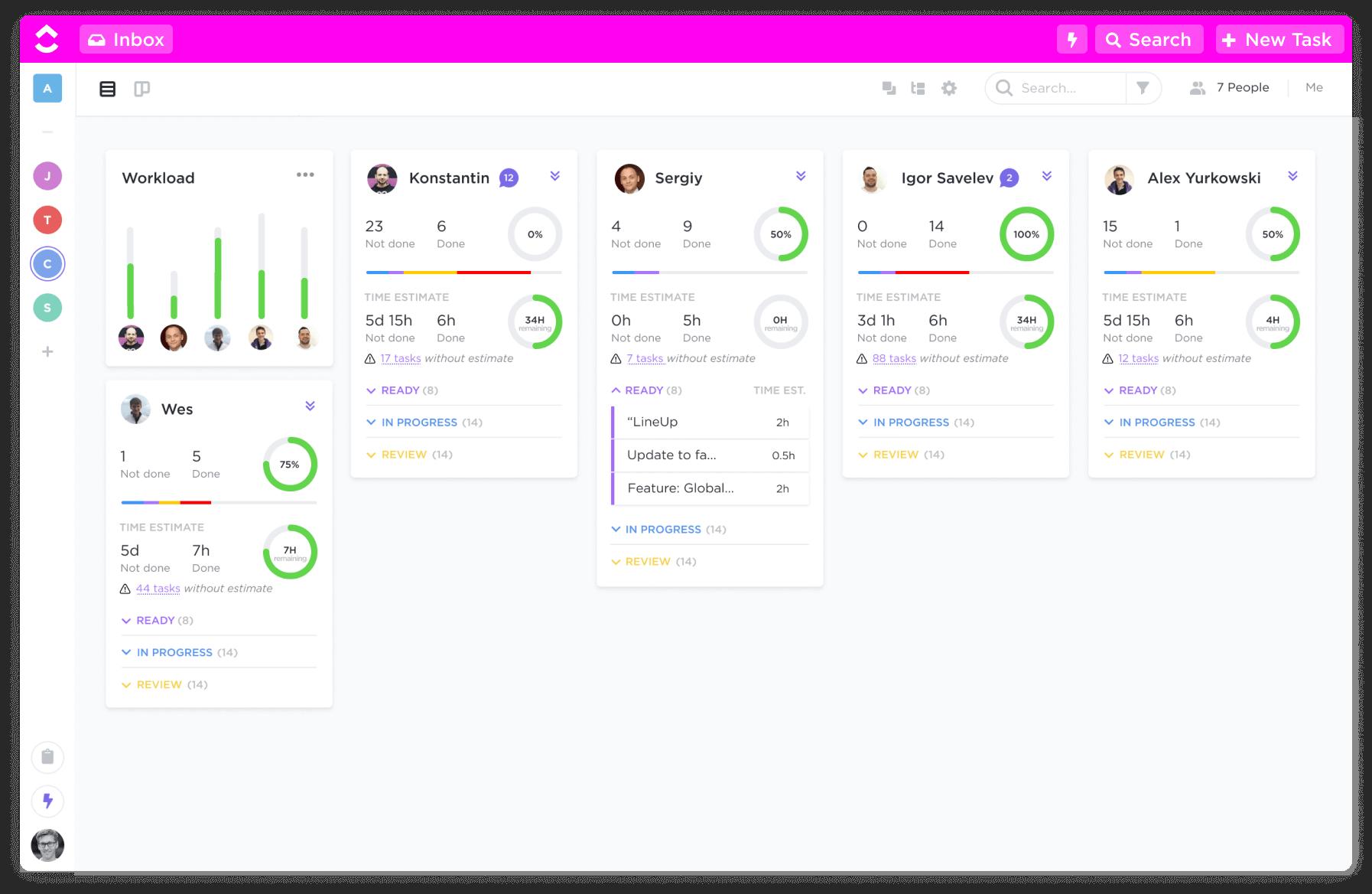 ClickUp dashboard