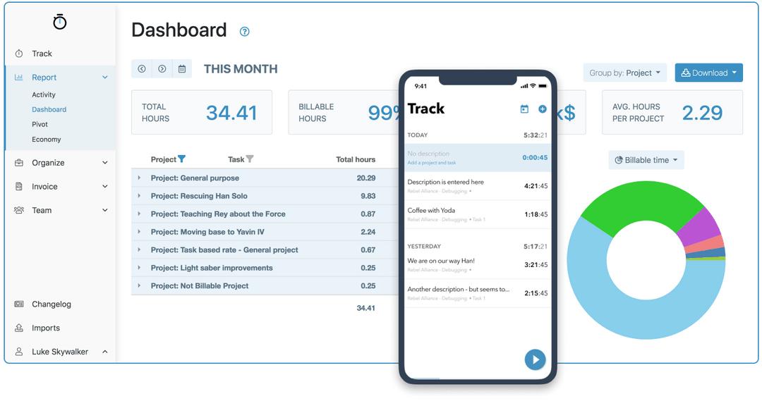 MyHours app dashboard