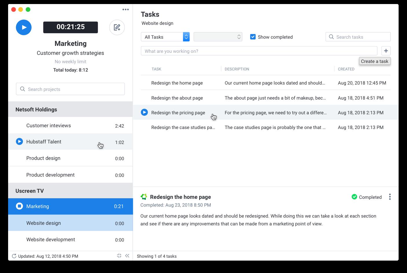 Desktop time tracker Hubstaff