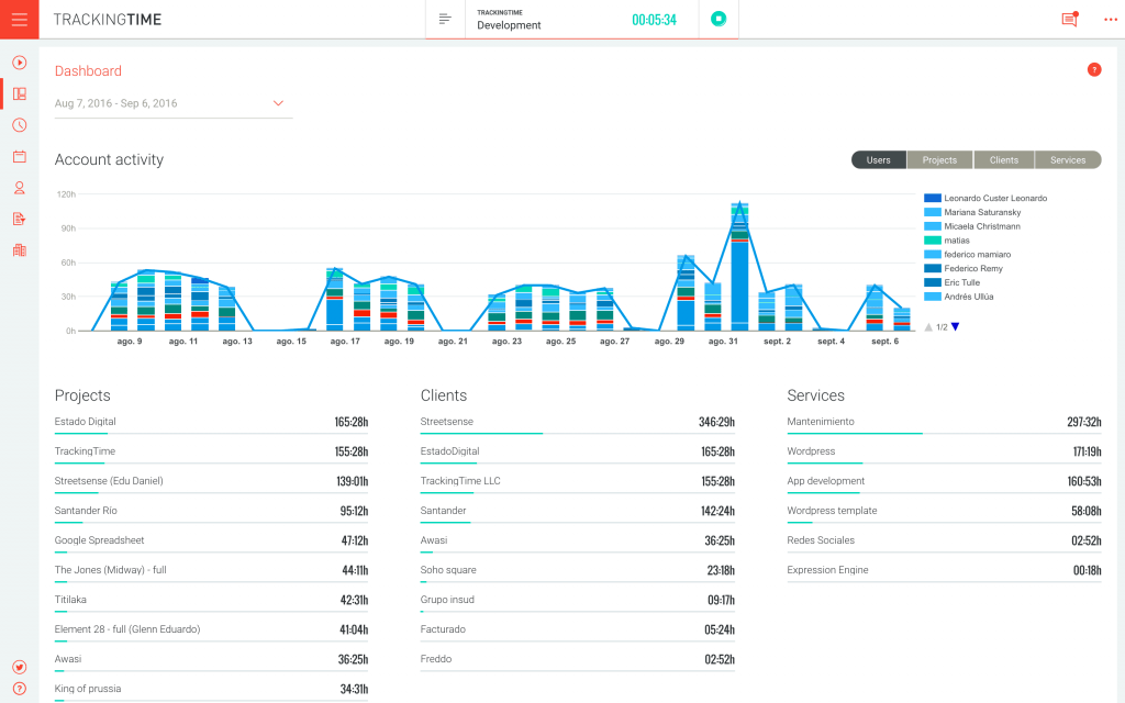 TrackingTime - time tracking for developers