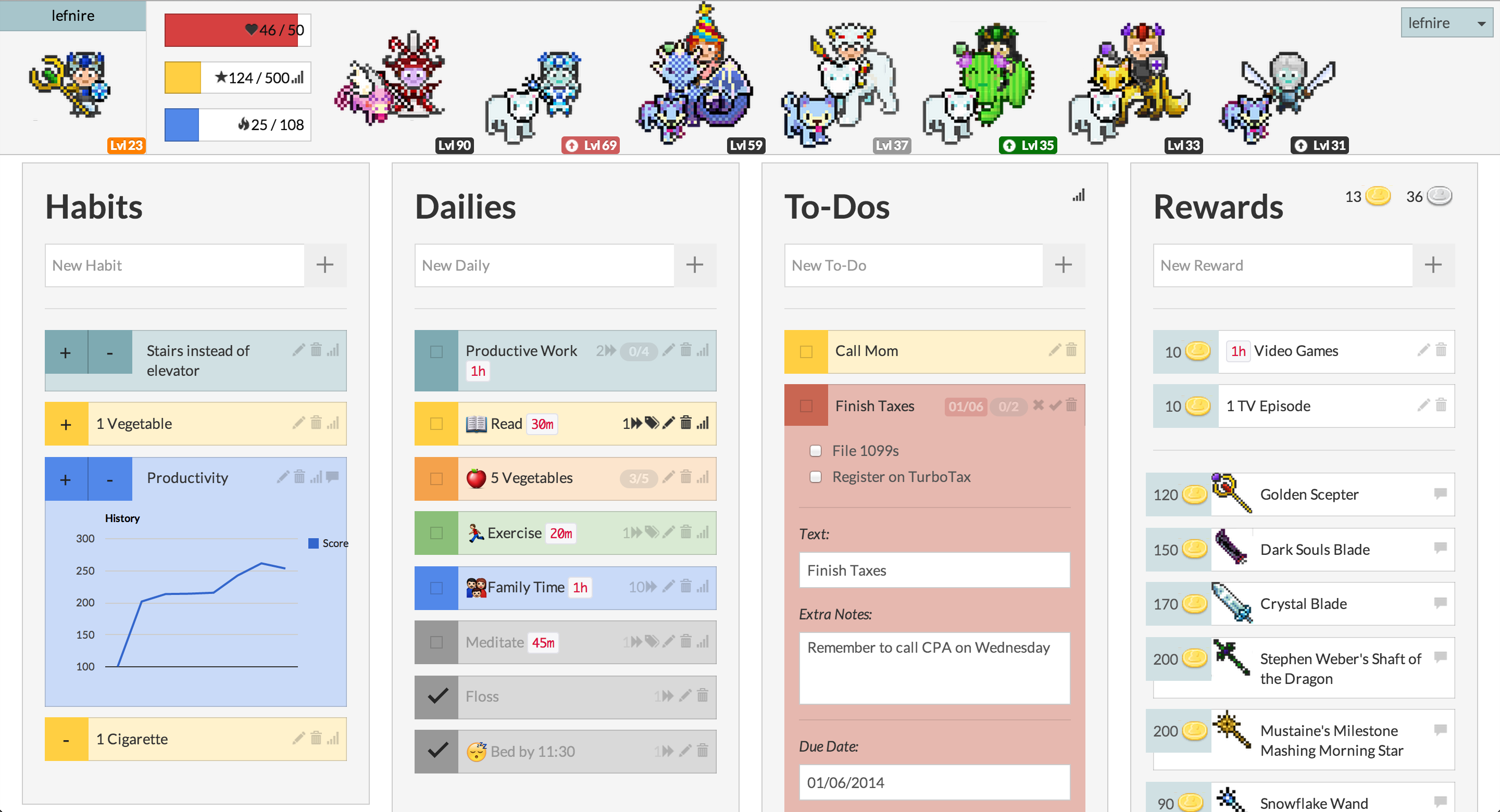 Habitica productivity tracker
