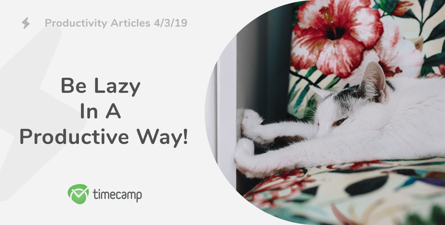 Productivity Articles: Be Lazy In A Productive Way! 4/3/19