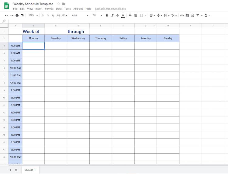 Google Docs weekly planner