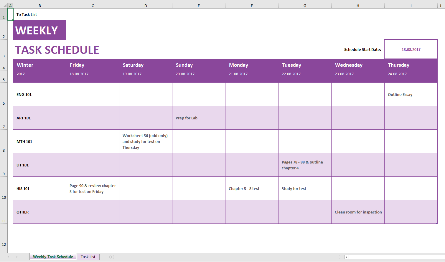 Microsoft weekly schedule templates