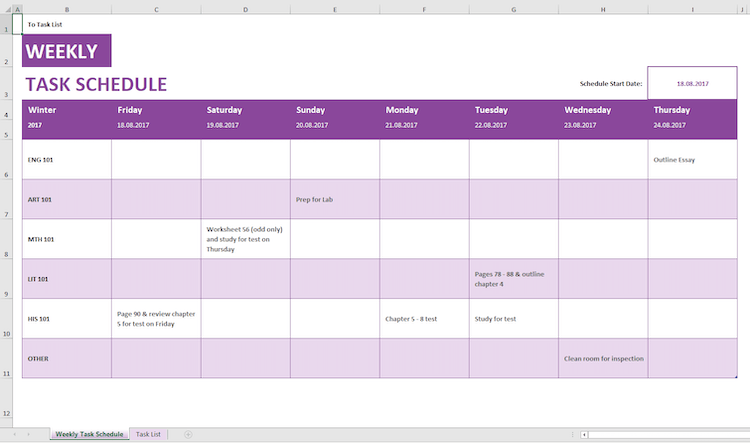 Microsoft weekly schedule template