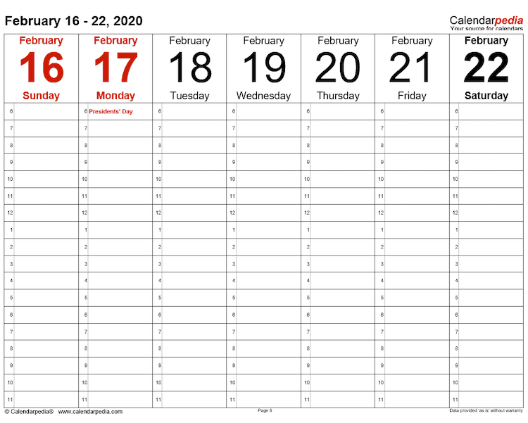Calendarpedia weekly schedule template
