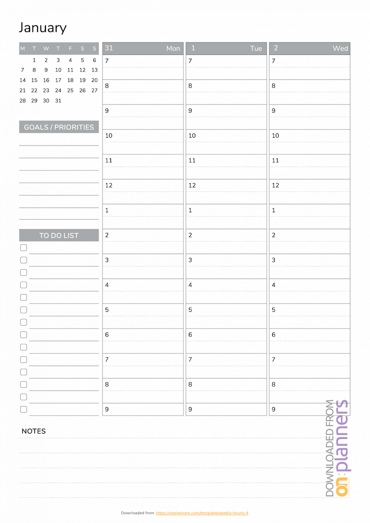 OnPlanners weekly shcedule template