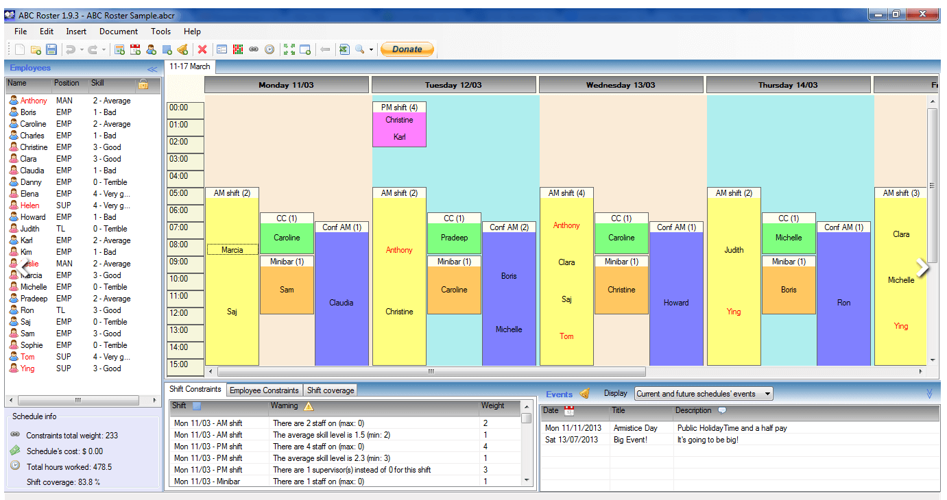 ABC Roster dashboard - employee scheduling software