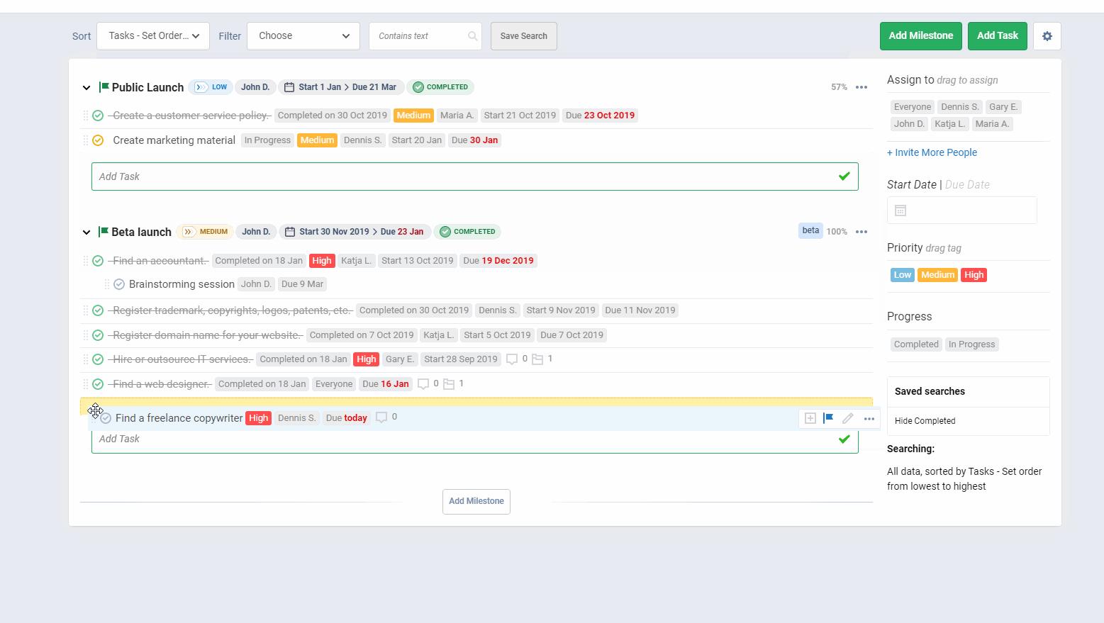 Freedcamp software dashboard