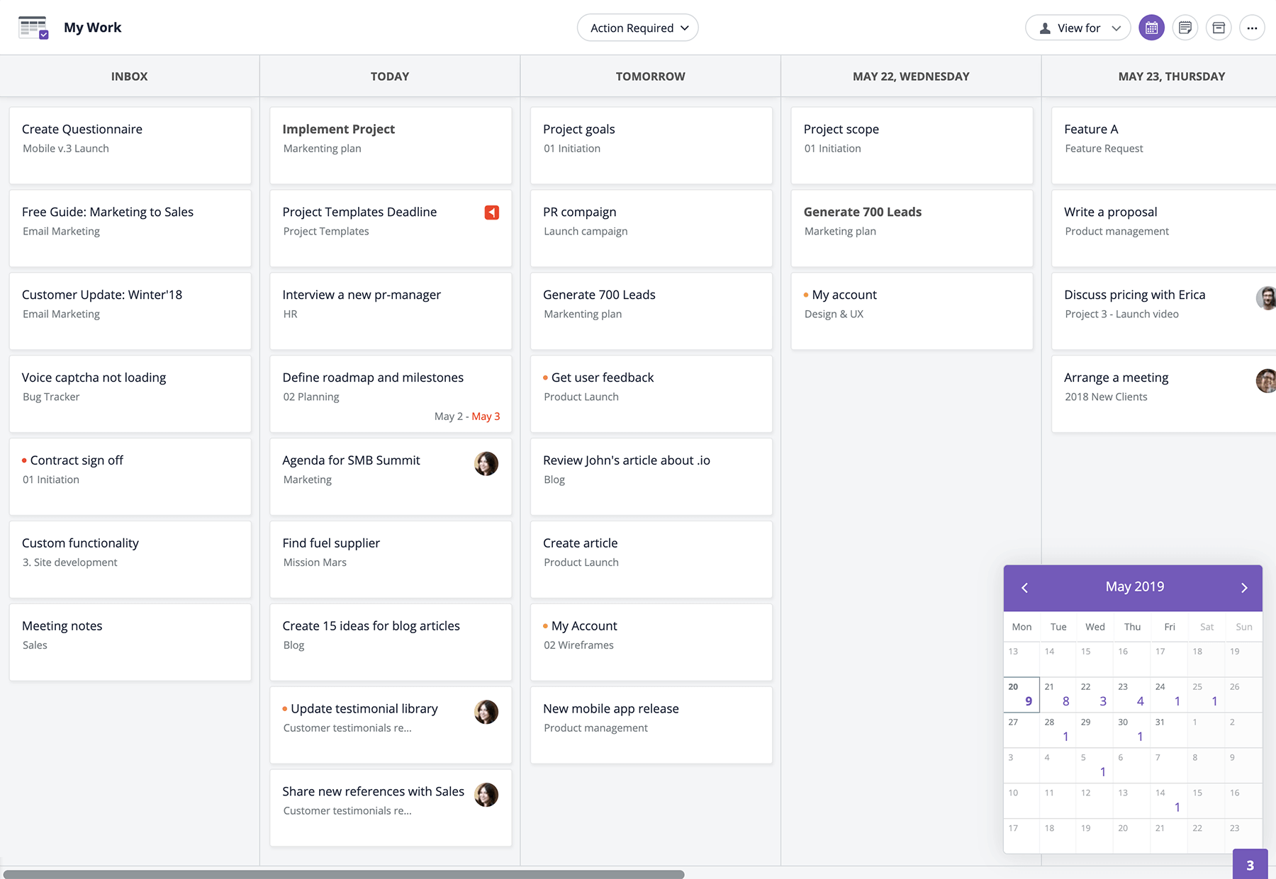 GoodDay dashboard - employee scheduling software