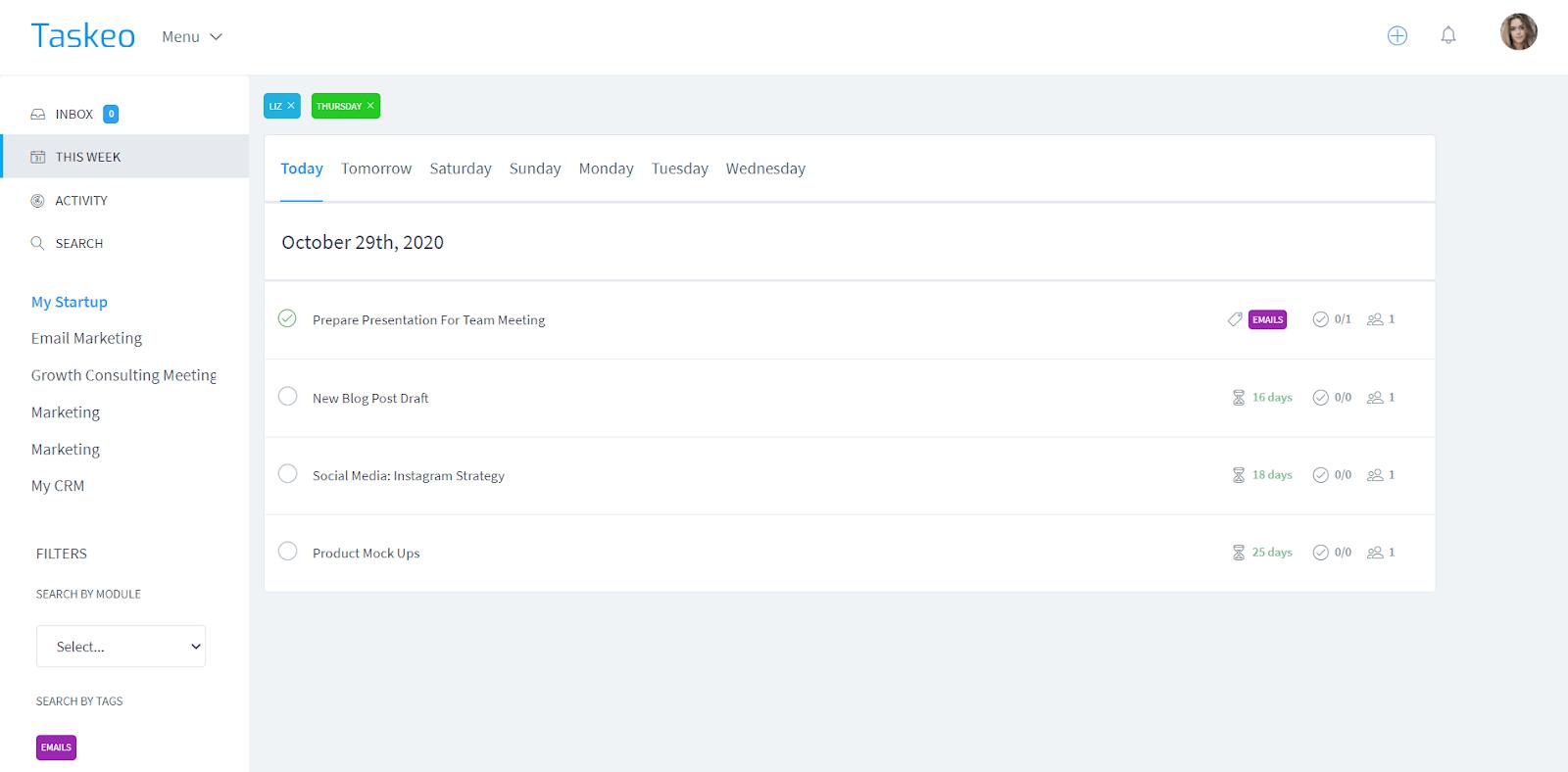 task dashboard screenshot
