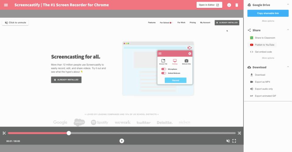 Screencastify - screen recording software
