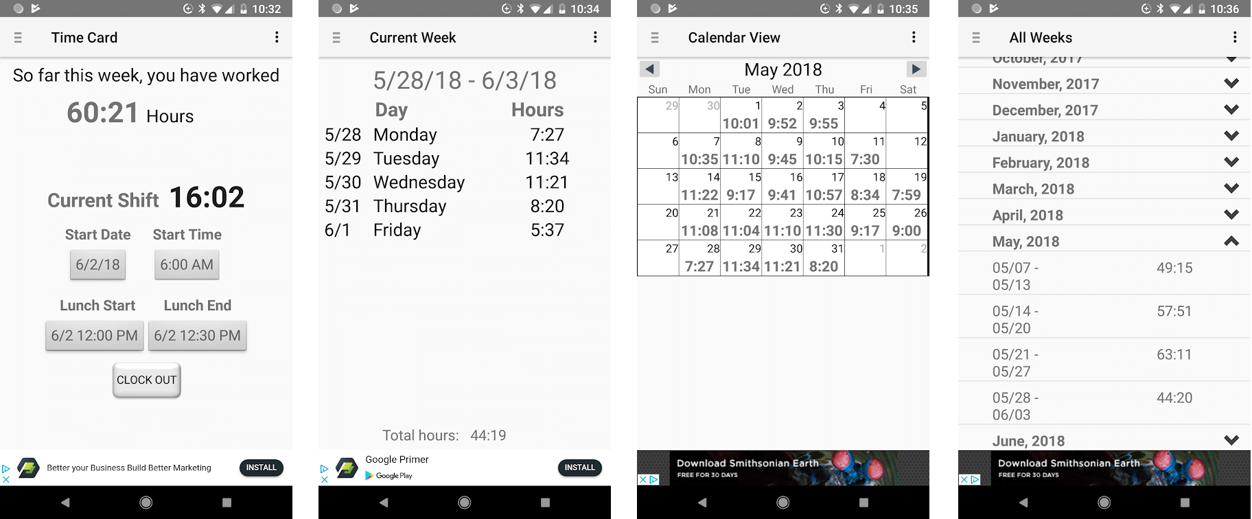 Time Card app for Android - screenshots