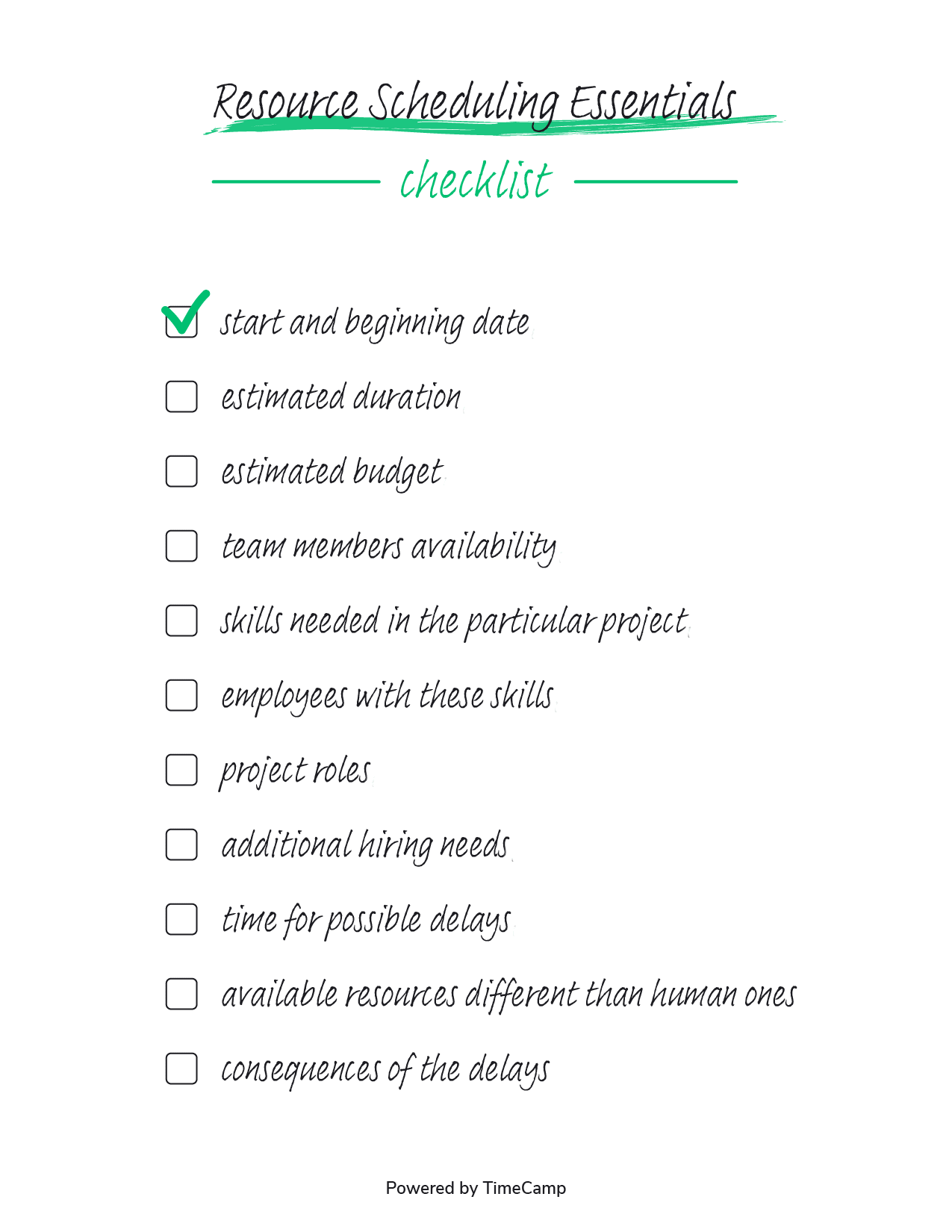 resource scheduling checklist