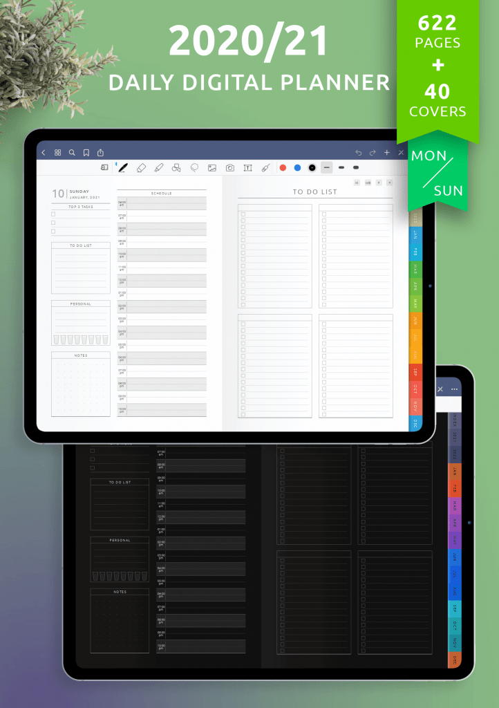 OnPlanners daily schedule template