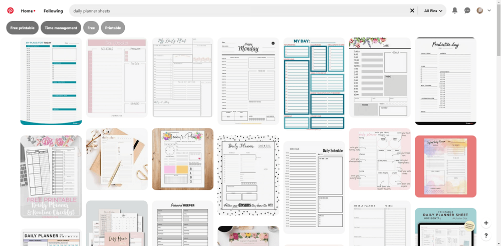 Pinterest planner ideas screenshot