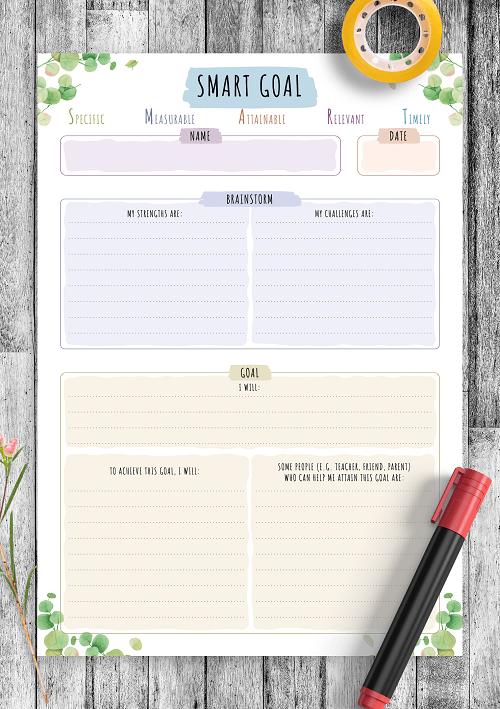 onplanners smart goals template