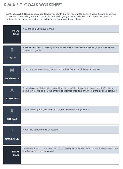 Smartsheet SMART goals template
