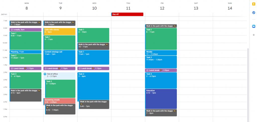 Google Calendar - time blocking