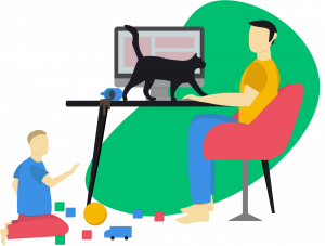 Challenges of working from home_ family and cats