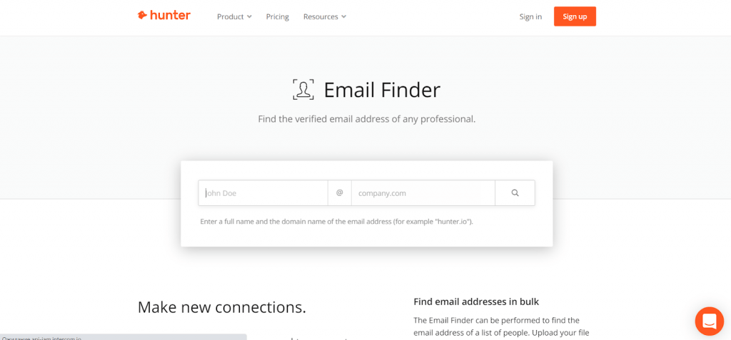 email finder tools hunter.io