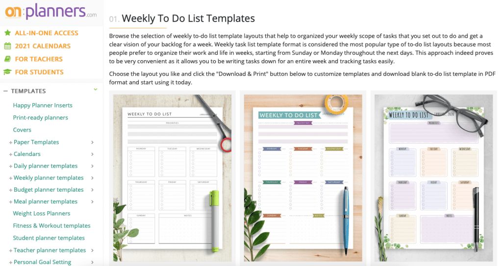 onplanners to-do list templates