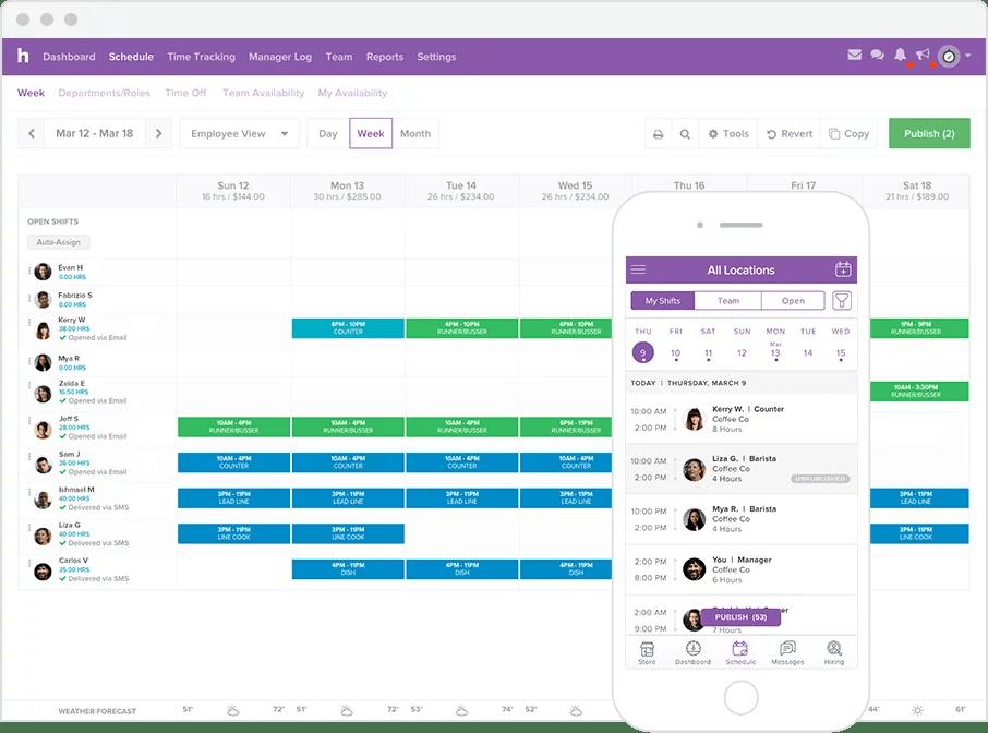 Homebase scheduling app