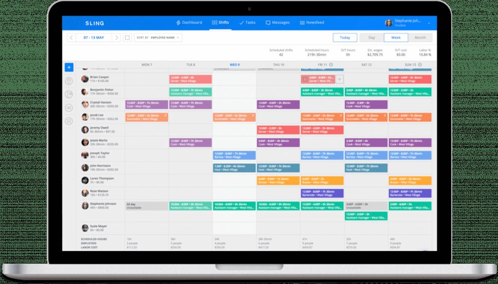 Sling scheduling app