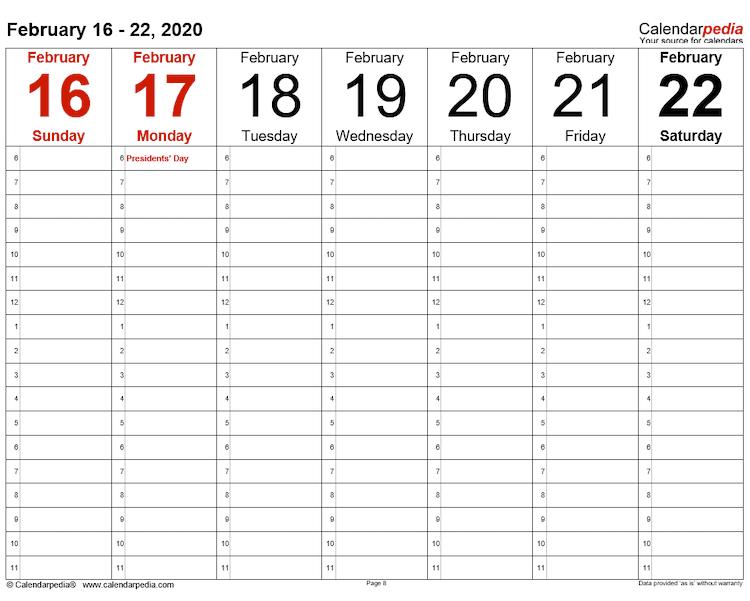 Calendarpedia weekly template