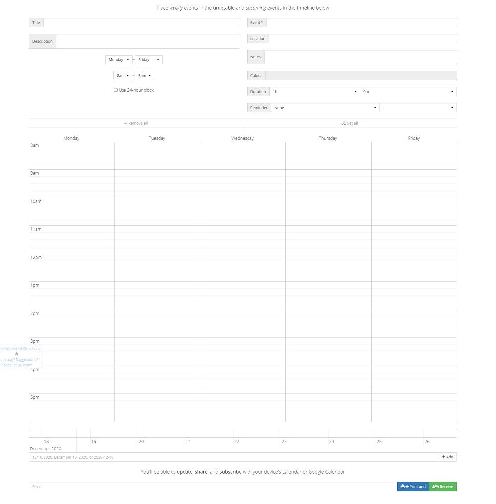 Timetable Maker planificador
