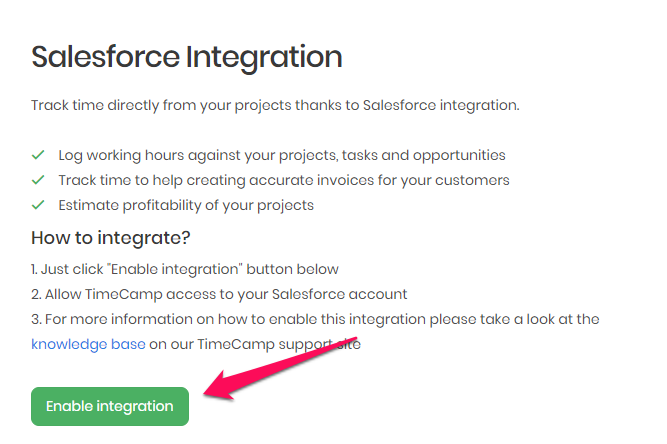 Integration with Salesforce - TimeCamp Knowledge Base