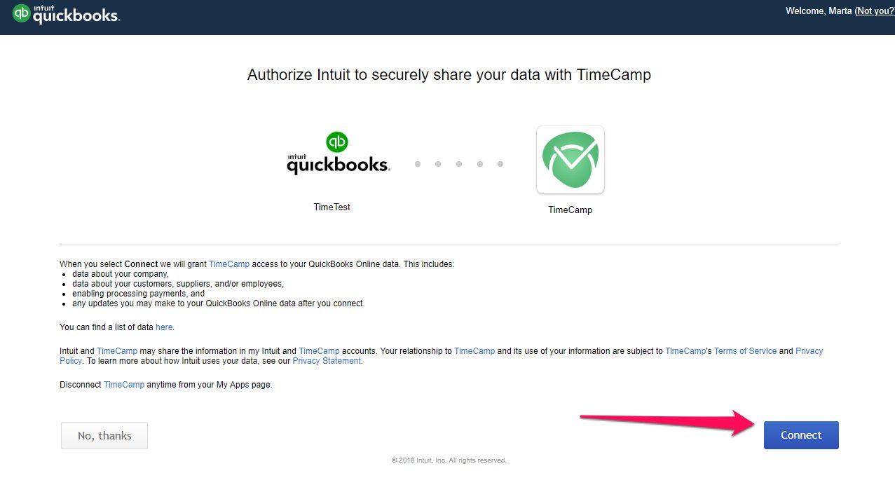 QuickBooks time tracker integrations with TimeCamp
